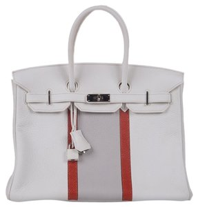 Hermès Hermes Birkin Leather Classic Tote in White, Orange, Gray