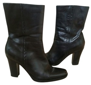 Nine West Ankle Height Side Zipper Classy Mid-calf Leather Black Boots
