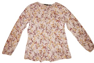 Eddie Bauer Leaf Floral Boho Top Ivory, Green, Yellow, Red