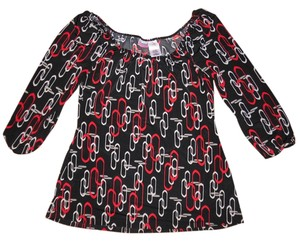 No Boundaries Chain-link 3/4 Sleeves Top Black, Red, Gray