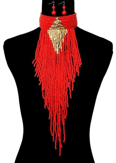 Preload https://img-static.tradesy.com/item/6268399/coral-gold-boho-chic-tribal-beaded-choker-fringed-and-earrings-necklace-0-2-540-540.jpg