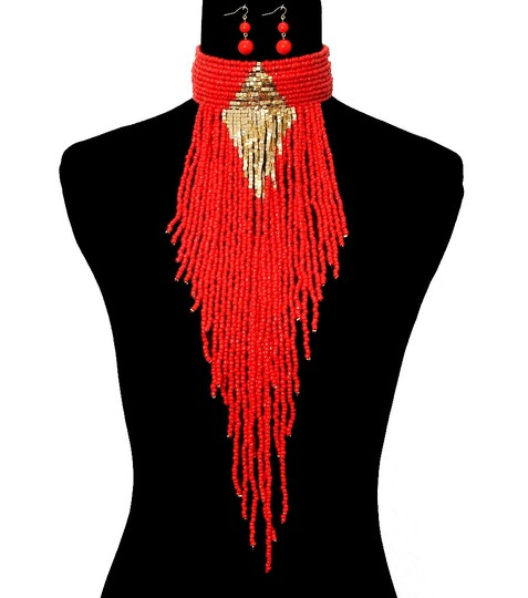 Other Boho Chic Tribal Beaded Choker Fringed Necklace and Earrings