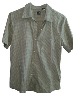 Gap Plaid Button Up Down Short Sleeve Button Down Shirt Green