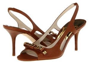 Michael Kors Livvy Slingback Sandal Heels Studded Luggage Brown Pumps
