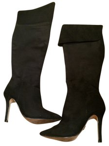 Rock & Republic Over The Knee Knee 6 High Heels Stiletto Suede Like Zippered Black Boots