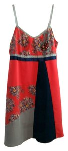 Anthropologie short dress Multi Orange Navy Grey Floral Detail Embellished Strapless Short on Tradesy