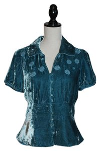 Anthropologie Iridescent Blue Velvet Jacket