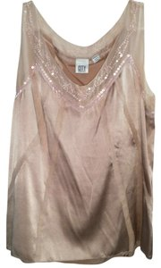 DKNY City Beaded Embellished Silk Tank Sleeveless Top Pink
