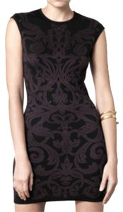 Alexander McQueen Intarsia Bodycon Fitted Black Dress