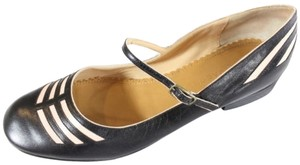 Marc Jacobs How Chic Leather Pink Inset Mary Jane Black Flats