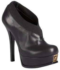 Fendi Platform Gold Hardware Black Boots