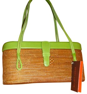 Elliott Lucca Rattan Leather Oval Satchel in Medium Brown /Green