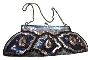 K. C. Malhan Evening Purse Sequin Black with Multi-colors Clutch