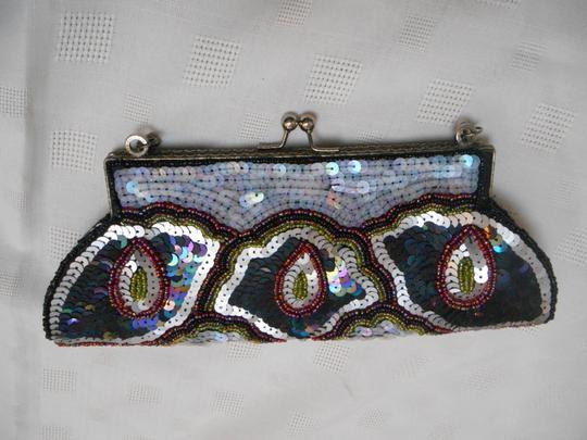 K. C. Malhan Evening Silver Wedding Ball Black with Multi-colors Clutch