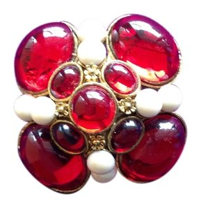 Vintage Red, Pearl and Gold Brooch
