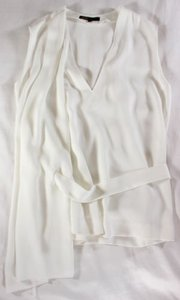 Maje Drapey Luxe Killer French Vanilla Belted Side Drape 1 Top Cream