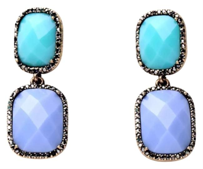 Mint & Baby Blue Two Tone with Crystal Accents Earrings Mint & Baby Blue Two Tone with Crystal Accents Earrings Image 1