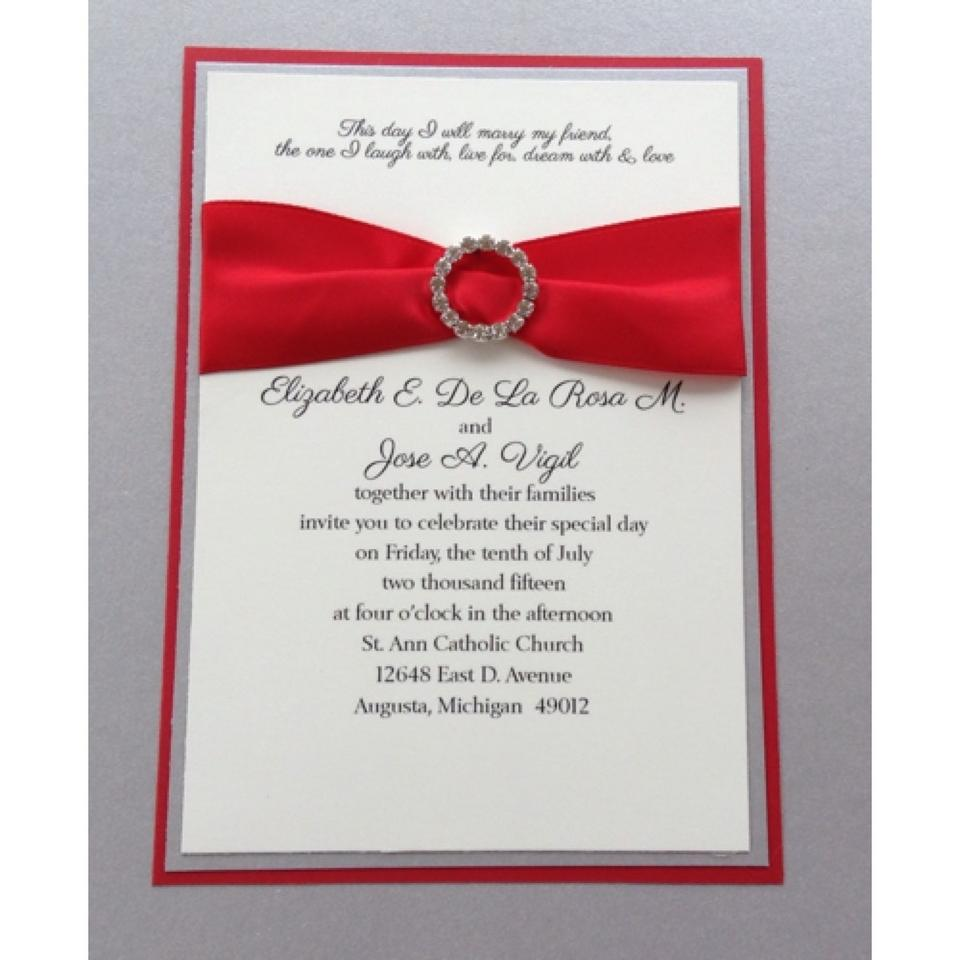 Red Silver Set Of and Bling Triple Layered Wedding Invitation Set ...