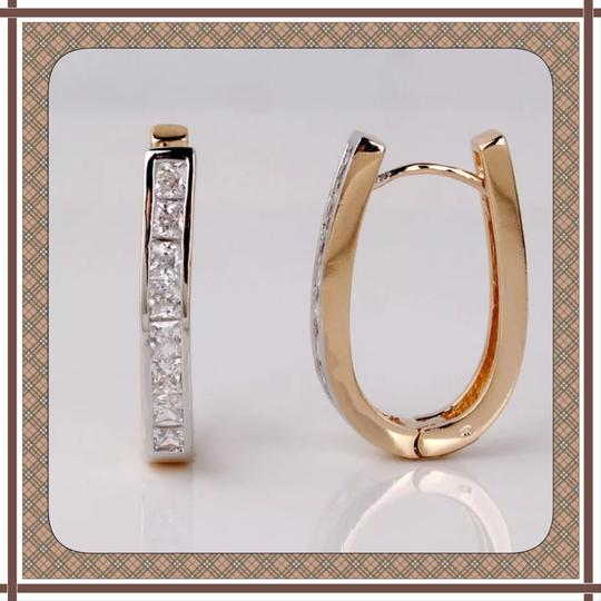 Other Huggie Style white topaz and gold filled
