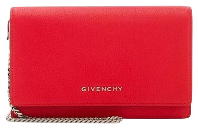 Givenchy Pandora Chain Wallet Red Goat Leather Shoulder Bag Givenchy Pandora Chain Wallet Red Goat Leather Shoulder Bag Image 1