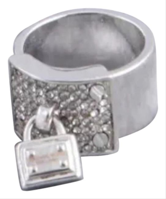 Silver Crystal Lock Charm Ring Silver Crystal Lock Charm Ring Image 1