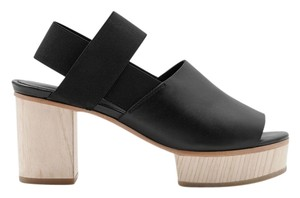 COS Wood Platform Leather Black Sandals