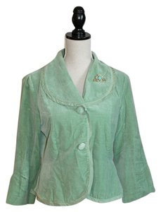 Anthropologie Mint Green Velvet Jacket