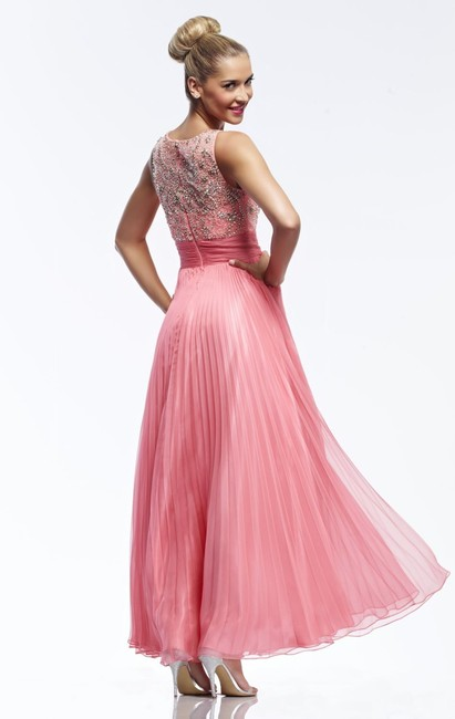Riva Designs Illusion Beaded Plus Size Prom Pleated Dress