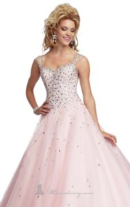 Mori Lee Ball Gown Illusion Beaded Modern Prom Dress