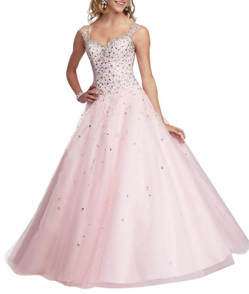 Mori Lee Pale Pink Ball Gown With Sheer Back Long Formal Dress Size