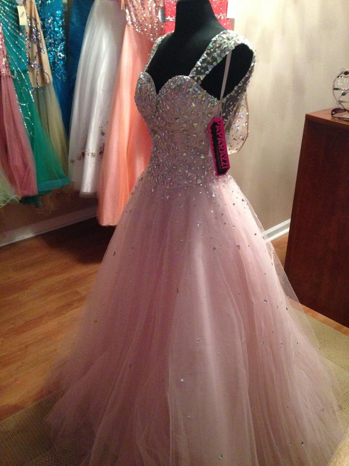 Mori Lee Pale Pink Ball Gown with Sheer Back Long Formal Dress Size ...