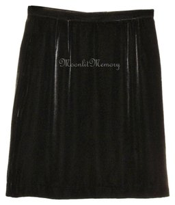J. Peterman Velvet Short Silk Straight Mini Skirt Brown