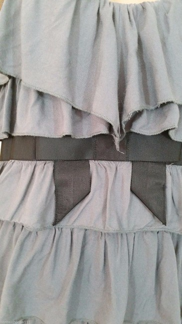 Other Jessica Simpson Flirty Tunic Blouse Ruffles Empire Waist Large Casual Night Out Flattering Jessica Simpson Top Gray and Black
