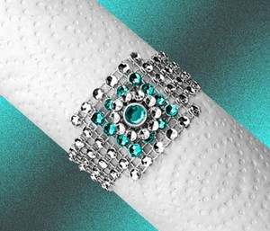 100 New Never Used Silver Bling Napkin Rings W Layered Turquoise Jewel Center - Only 79 Cents Each - Free Shipping