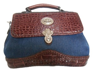 Country Rodeo Satchel in Denim Blue and Brown Leather tones
