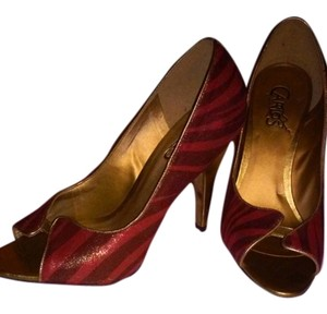 Carlos by Carlos Santana Red Zebra with Gold Trim and Heel Pumps