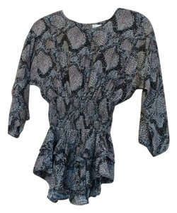 Parker Snakeskin Pleated Silk Party Top Grey
