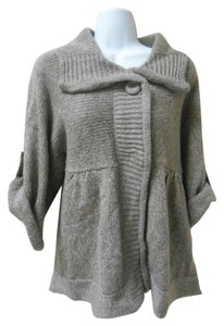 Carolyn Taylor Cardigan Collar Large Button Snap Closure Knit Gathers Xl Extra Large Large 14 16 Biege Cozy Campus Casual Weekend Sweater