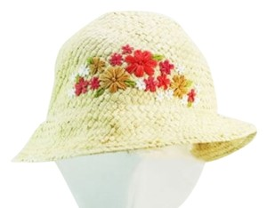 Kate Spade Kate Spade New York Simple Straw Floral Stitched Sun Hat NEW