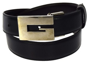 Gucci Authentic GUCCI Logos G Buckle Belt Leather Black Silver Italy Vintage 06D231