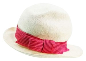 Kate Spade Kate Spade New York Live Colorfully White Pink Ribbon Sun Hat NEW