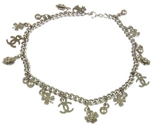 Chanel Authentic CHANEL Vintage CC Logos Silver Chain Anklet Accessories RK09172