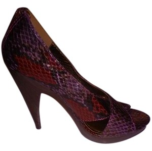 Steve Madden Snakeskin Deep Plum and Red Pumps
