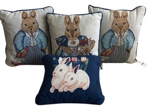 Manual Weavers Inc Bunny Rabbits * Vintage * Tapestry Pillows * Set of 4 * Home Decor * Country * Classic * Contemporary * All Ages | BONUS Rabbit