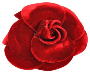 Chanel AUTHENTIC CHANEL CC CAMELLIA MOTIF CORSAGE BROOCH PIN RED VELVET VINTAGE RK07130