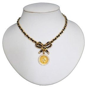 Chanel ($2500) Coco Chanel Gold Coin Crystals Bow in Gold Leather Chain Choker 22k plated