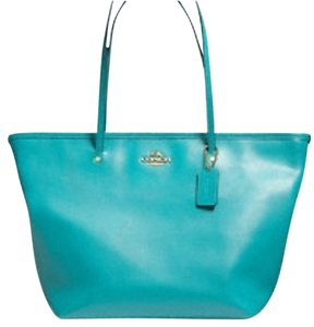 Coach Oversized Extra Large Leahter Tote in Cadet Blue