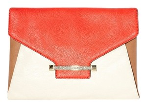 Vince Camuto Gold Poppy Red Galaxy Clutch