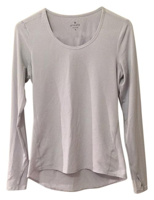 Item - Silver & White Stripe Chi Activewear Top Size 6 (S, 28)