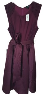 The Limited Belted Lace Satin A-line Dress